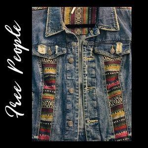 Free People Denim Boho Jean Vest -Large